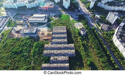 Aerial view of abandoned construction - Aerial view of huge...