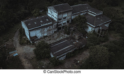 Aerial view of Abandoned house