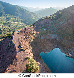 Aerial view of abandoned open pit mine Alestos, Cyprus