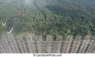 Aerial view of abandoned Soviet Duga radar system - Drone...