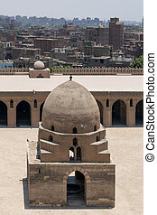 Aerial view of ablution fountain of Ibn Tulun historical mosque