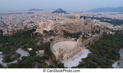 Aerial view of Acropolis of Athens ancient citadel after sunset in Greece