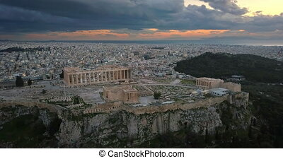 Aerial view of Acropolis of Athens at sunset