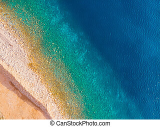 aerial view of Adriatic beach, drone shot