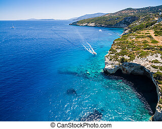Aerial view of Agios Nikolaos blue caves in Zakynthos...