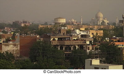 Aerial View of Agra City, India - Wide panoramic low-angle...