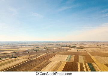 Aerial view of agricultural fields Autumn countryside.