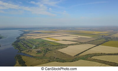 Aerial View Of Agricultural Fields Crops Harvest, Yellow Agricultural Plantations Drone Shot
