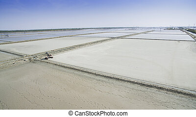 aerial view of agriculture area preparing for producing natural sea salt samuthsongkram thailand