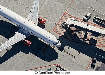 Aerial view of airplane at airport