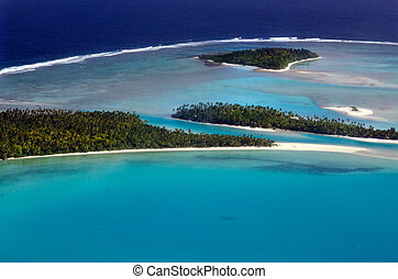 Aerial view of Aitutaki Lagoon Cook Islands - AITUTAKI - SEP...