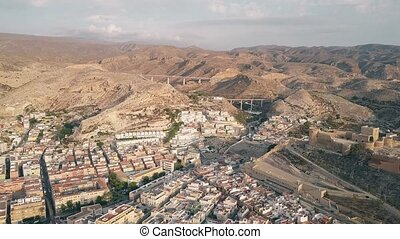 Aerial view of Alcazaba ancient castle and mountains in Almeria, Spain