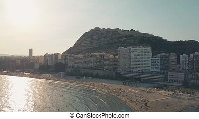 Aerial view of Alicante beach and Santa Barbara castle