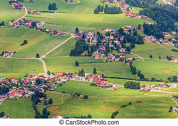 Aerial view of alpine villages, summer landscape