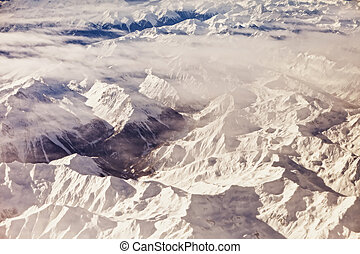 aerial view of alps
