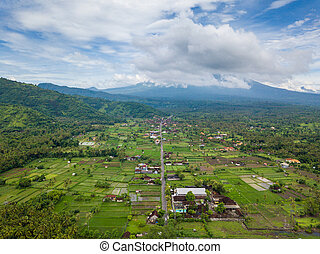 Aerial view of Amed in Bali, Indonesia