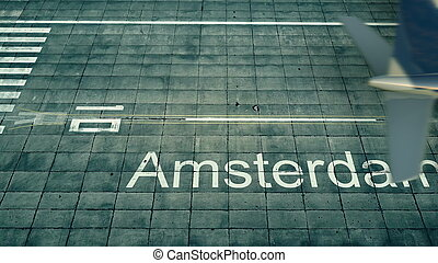 Aerial view of an airplane arriving to Amsterdam airport. Travel to Netherlands 3D rendering