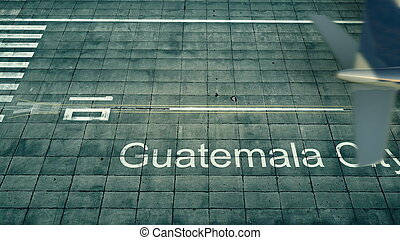 Aerial view of an airplane arriving to Guatemala City airport. Travel to Guatemala 3D rendering