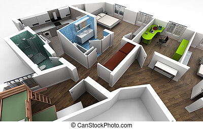 Aerial view of an apartment