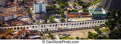 Carioca Aqueduct - Aerial view of an aqueduct, Carioca...