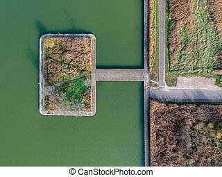 Aerial view of an artificial island on a lake