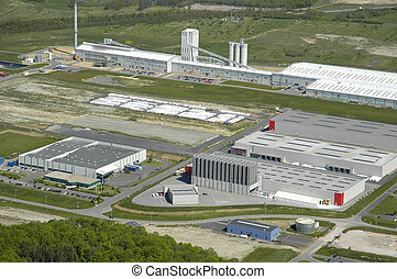 Aerial view of an industrial area in France