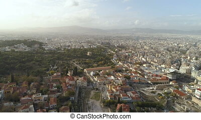 Aerial view of Ancient Agora of Athens and modern city