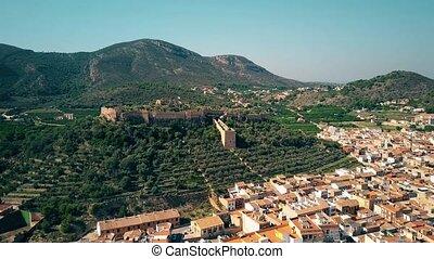Aerial view of ancient Castillo de Corbera or Corbera Castle, Spain