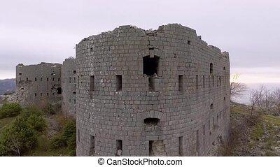 Aerial View Of Ancient Fortress Kosmach Near Budva, Montenegro