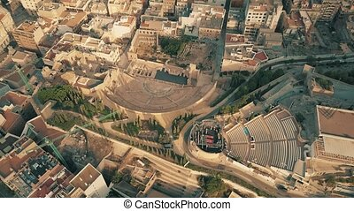 Aerial view of ancient Teatro Romano or Roman Theater and...