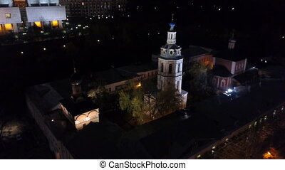 Aerial view of Andreevsky Monastery in night Moscow, Russia...