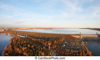 Aerial view of Angara river and Irkutsk dam. hydroelectric power station. Establishing shot