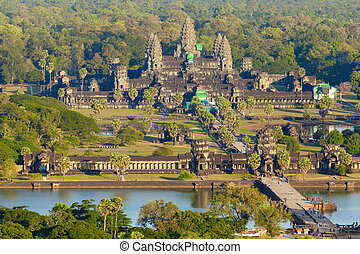 Aerial view of Angkor Wat from a helium balloon