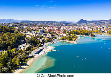 Aerial view of Annecy lake waterfront in France