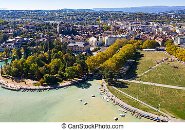Aerial view of Annecy lake waterfront low tide level due to the drought in France