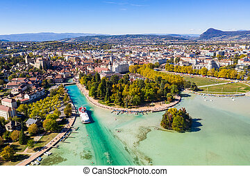 Aerial view of Annecy lake waterfront low tide level due to...