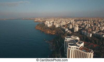 Aerial view of Antalya coastal cityscape, Turkey - Flying...