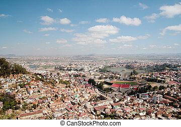 Aerial view of Antananarivo capital city of Madagascar