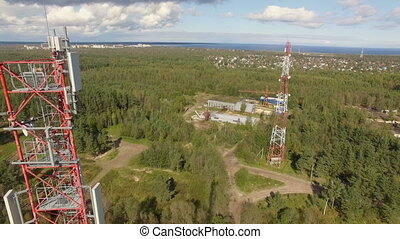 Aerial view of Antenna telecommunication tower