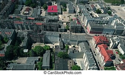Aerial view of apartment buildings in Poznan, Poland