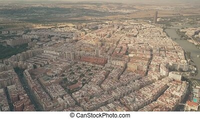 Aerial view of apartment houses in Seville, Spain