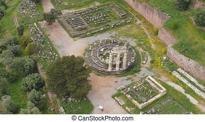 Aerial view of archaeological site of ancient Delphi, site of temple of Apollo and the Oracle, Voiotia, Greece