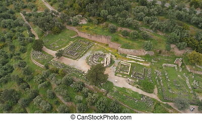 Aerial view of archaeological site of ancient Delphi, site...