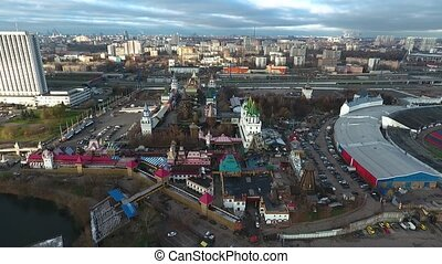 Aerial view of architectural complex Kremlin in Izmailovo,...