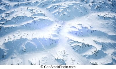 Aerial view of Arctic landscape and mountain range
