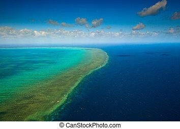 Aerial view of Arlington Reef at Great Barrier Reef Marine...