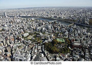 Aerial view of Asakusa areas