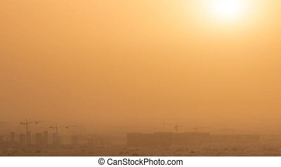 Aerial view of Aspire Zone from at sunrise timelapse in Doha...