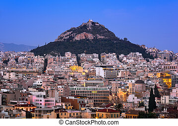 Aerial View of Athens and Mount Lycabettus from Areopagus Hill, Athens, Greece