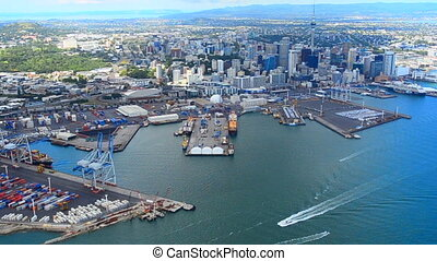 Aerial view of  Auckland financial center New Zealand